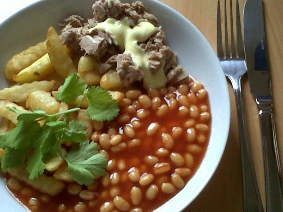 Breakfast of Chips with Baked beans and Tuna.