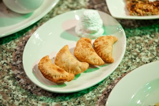 Apple turnovers with whipped cream