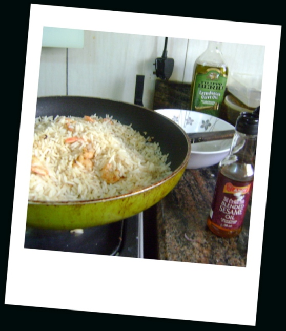 Cooked rice added and further stir-fried