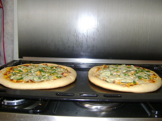 Pizzas baked and golden