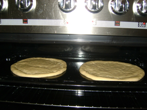 Pizza dough rising in an unlit oven for 30 minutes.