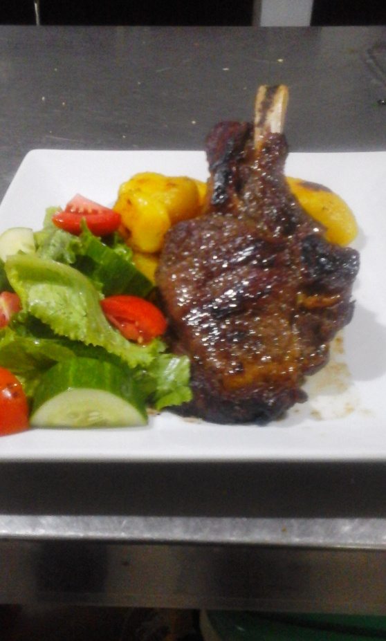 Roast potatoes with lamb chops